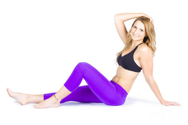 Workout Photograph - Happy Smiling Woman Exercising On White Background by Jorgo Photography - Wall Art Gallery