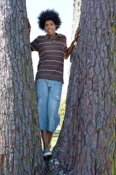 Between The Trees Photograph - Happy Teenage Male by Ian Hooton/science Photo Library