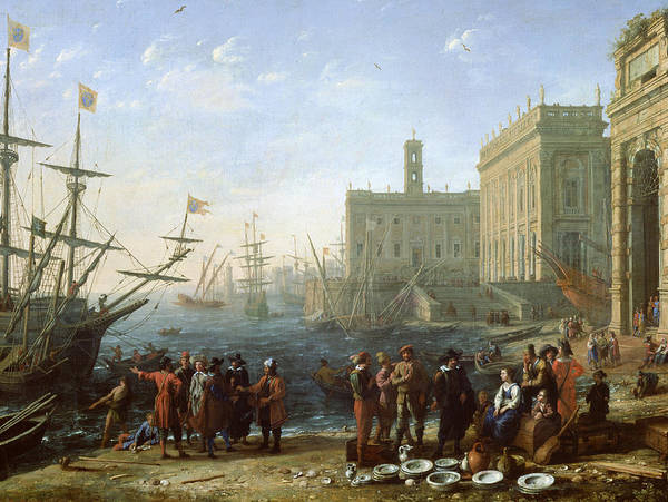 Merchant Painting - Harbor Scene by Claude Lorrain