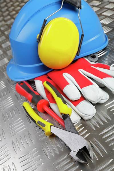 Protective Clothing Photograph - Hardhat And Tools by Christian Lagerek/science Photo Library