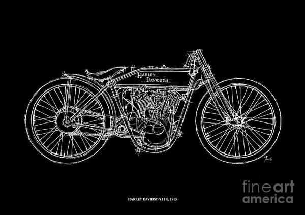 White Background Drawing - Harley Davidson 11k 1915 by Drawspots Illustrations
