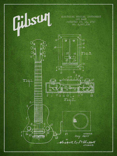 Wall Art - Digital Art - Hart Gibson Electrical Musical Instrument Patent Drawing From 19 by Aged Pixel