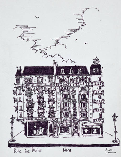 Ink Sketch Photograph - Haussmann Style Cafe And Stores On Rue by Richard Lawrence
