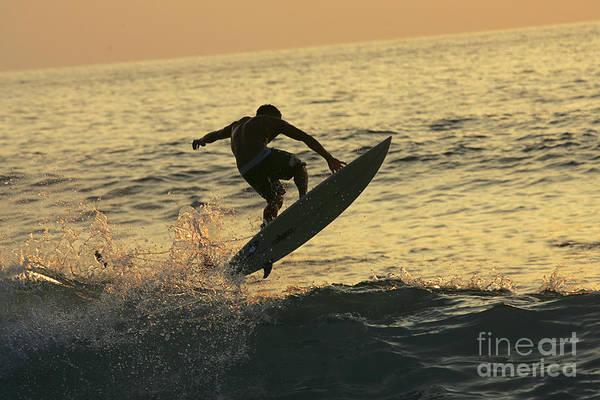 Wall Art - Photograph - Hawaii, Big Island, Kona, Surfer At Sunset. by Jody Watt