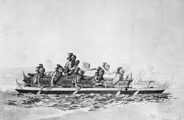 Drawing - Hawaii Canoe, 1779 by Granger