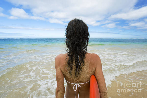 Wall Art - Photograph - Hawaii, Kauai, Woman Holding Surfboard On Beach, View From Behind. by M Swiet Productions
