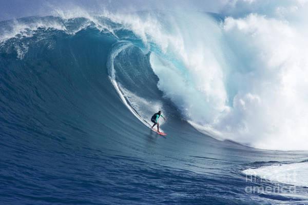 Wall Art - Photograph - Hawaii, Maui, Yuri Farrant Surfs Huge Wave At Jaws, Aka Peahi. by Ron Dahlquist