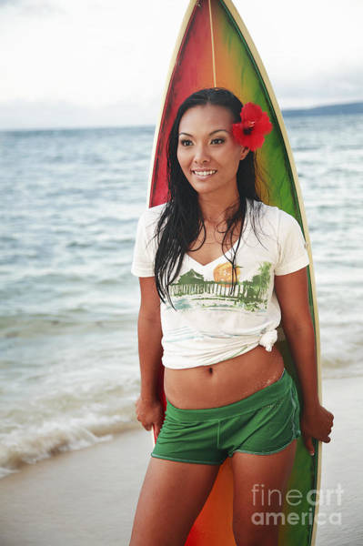 Wall Art - Photograph - Hawaii, Oahu, Beautiful Local Girl Smiling And Holding A Colorful Surfboard At The Beach by Brandon Tabiolo