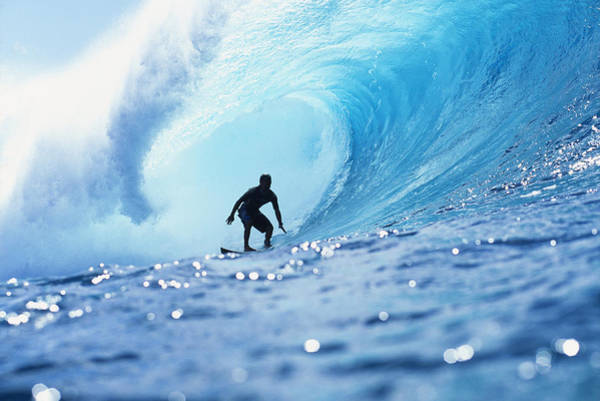 Wall Art - Photograph - Hawaii, Oahu, North Shore, Silhouette Of Surfer In Pipeline Barrel by Vince Cavataio