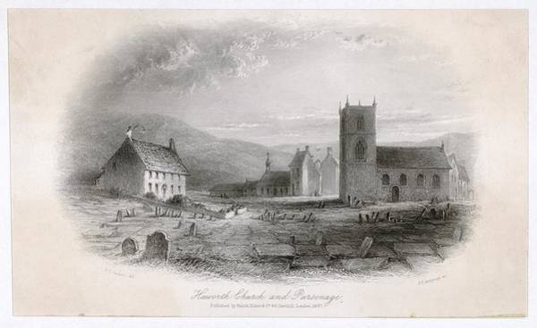 Gravestone Drawing - Haworth  Haworth Church And Parsonage by Mary Evans Picture Library