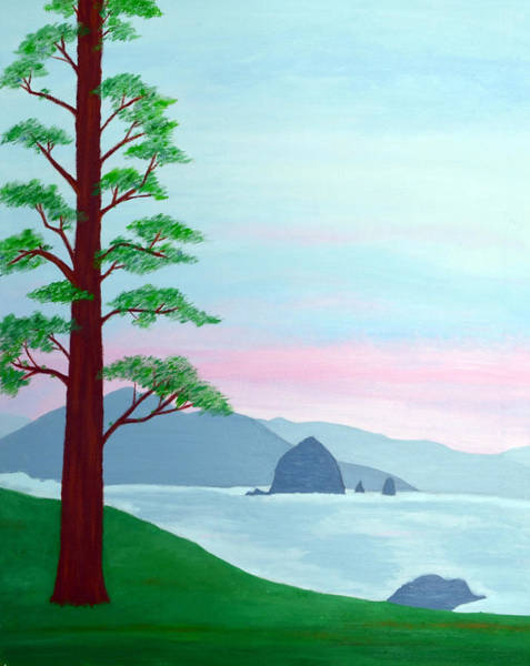 Cannon Beach Painting - Haystack Rock by Jan Roelofs