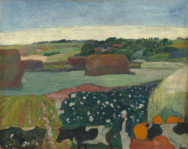 Wall Art - Painting - Haystacks In Brittany by Paul Gauguin