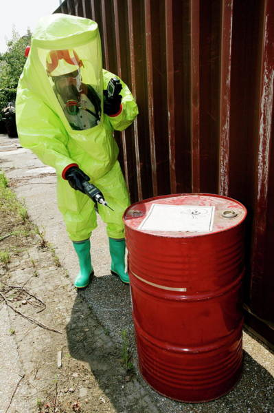 Checking Photograph - Hazardous Waste Container by Mauro Fermariello/science Photo Library