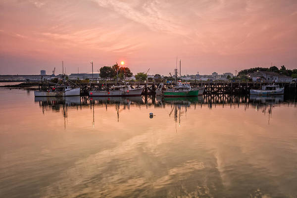 Photograph - Hazy Sunrise Over The Commercial Pier Portsmouth Nh by Jeff Sinon