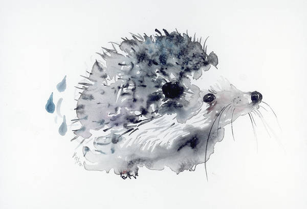 Rain Forest Painting - Hedgehog by Krista Bros