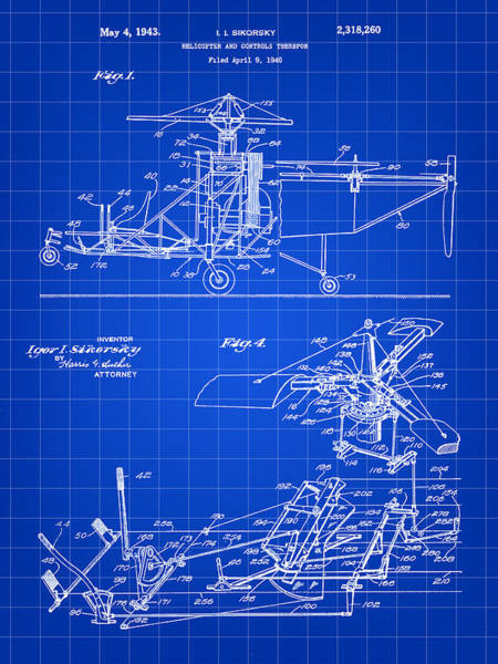 Wall Art - Digital Art - Helicopter Patent 1940 - Blue by Stephen Younts