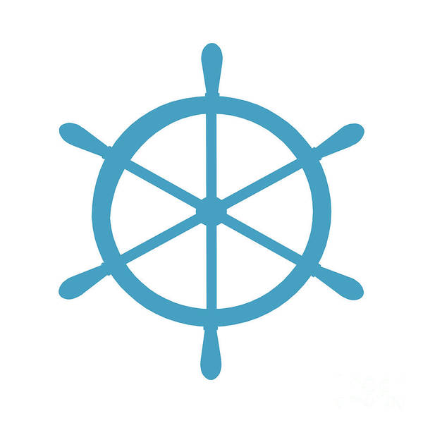 Parts Of A Boat Digital Art - Helm In White And Turquoise Blue by Jackie Farnsworth