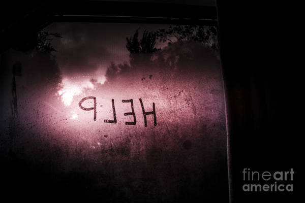 Frosted Glass Photograph - Help Written On A Misty Glass Window. No Escape by Jorgo Photography - Wall Art Gallery