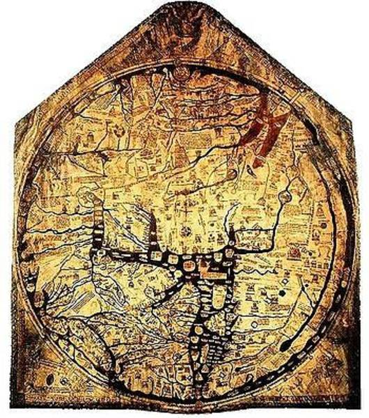 Wall Art - Drawing - Hereford Mappa Mundi 1300 Upszed by L Brown
