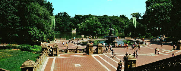 Bethesda Fountain Photograph - High Angle View Of Bethesda Terrace by Panoramic Images