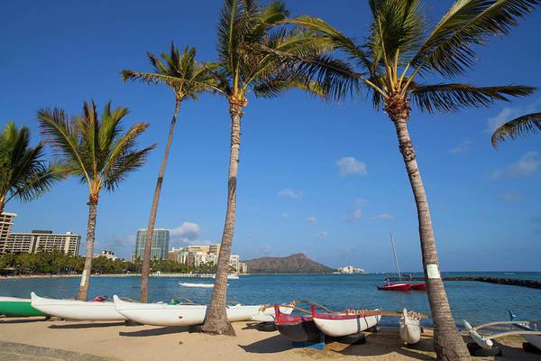 Outrigger Canoe Photograph - Hilton Lagoon, Waikiki, Honolulu, Oahu by Douglas Peebles