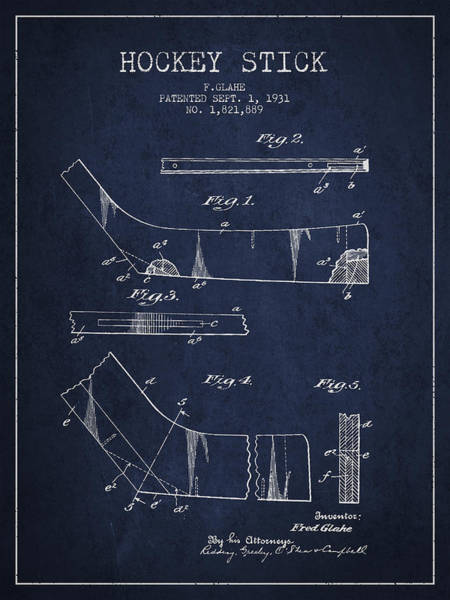 Hockey Sticks Digital Art - Hockey Stick Patent Drawing From 1931 by Aged Pixel