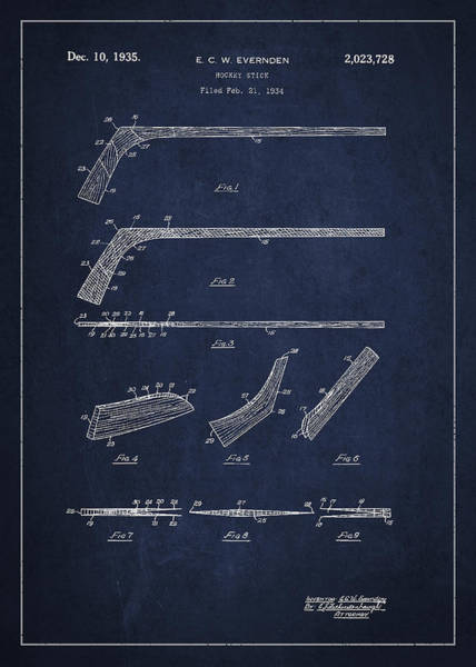 Hockey Sticks Digital Art - Hockey Stick Patent Drawing From 1934 by Aged Pixel