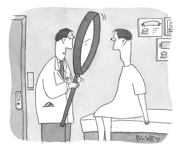 Medicine Drawing - Holding A Gigantic Magnifying Glass by Peter C. Vey