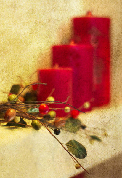 Red Berry Photograph - Holiday Candles by Rebecca Cozart