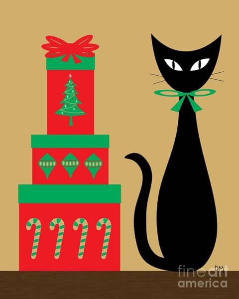 Digital Art - Holiday Cat 2 by Donna Mibus