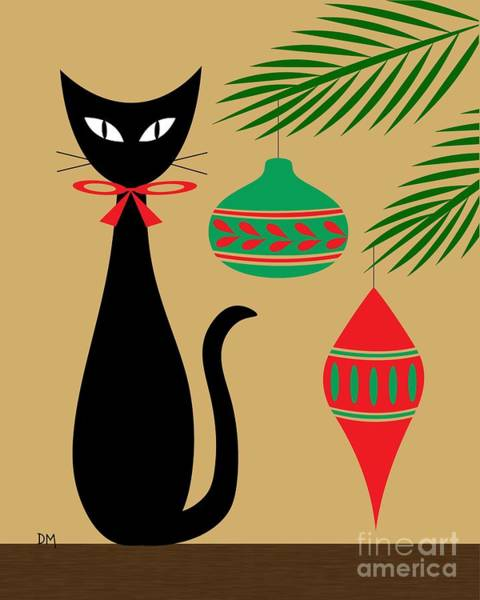 Digital Art - Holiday Cat by Donna Mibus