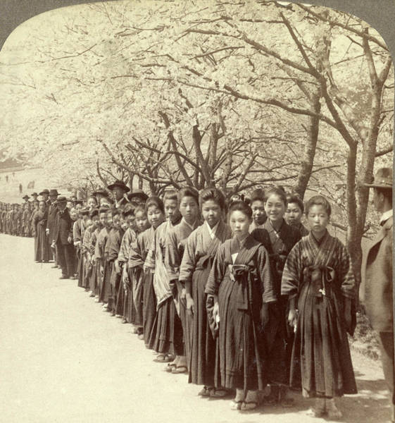 Outing Photograph - Holiday Outing Of A Japanese School, Under The Beautiful by Litz Collection