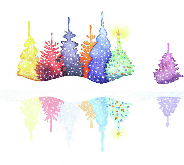 Winter Holidays Painting - Holiday Trees by P.s. Art Studios