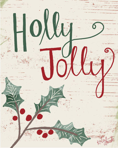 Winter Holiday Painting - Holly Jolly by Katie Doucette