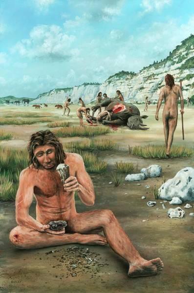 Quaternary Photograph - Homo Heidelbergensis Creating A Flint Axe by Richard Bizley