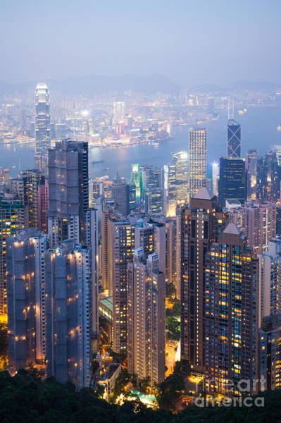 Wall Art - Photograph - Hong Kong Harbor From Victoria Peak At Night by Matteo Colombo