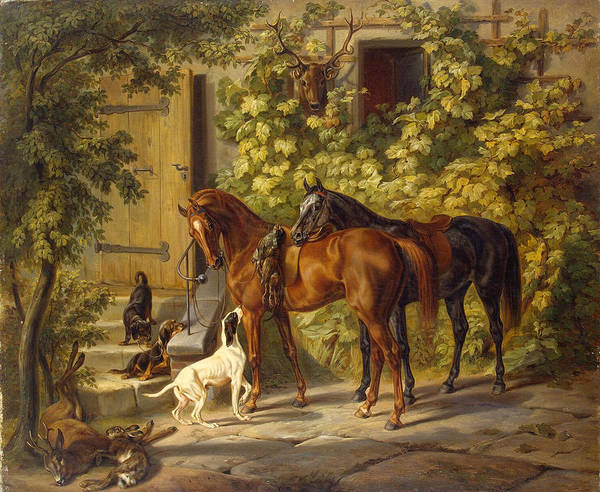 Wall Art - Painting - Horses At The Porch by Albrecht Adam
