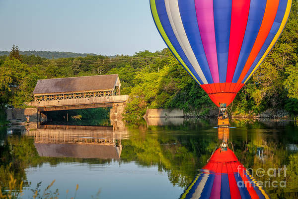 Photograph - Hot Air Balloon Dipping Near The Quechee Covered Bridge by Susan Cole Kelly