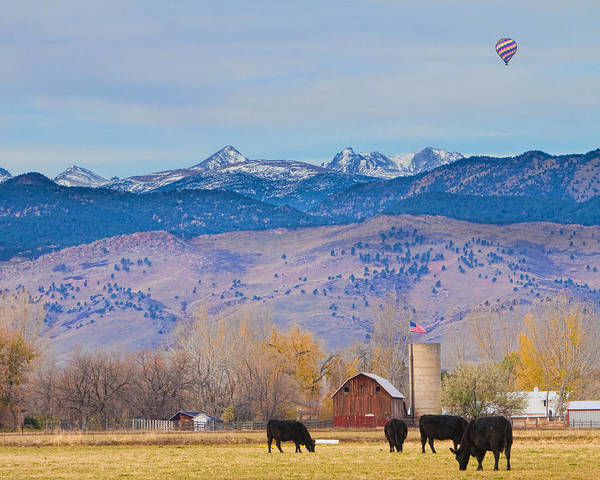 Photograph - Hot Air Balloon Rocky Mountain County View by James BO Insogna