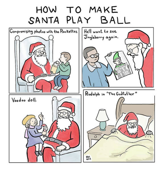 Elves Drawing - How To Make Santa Play Ball by Paul Noth