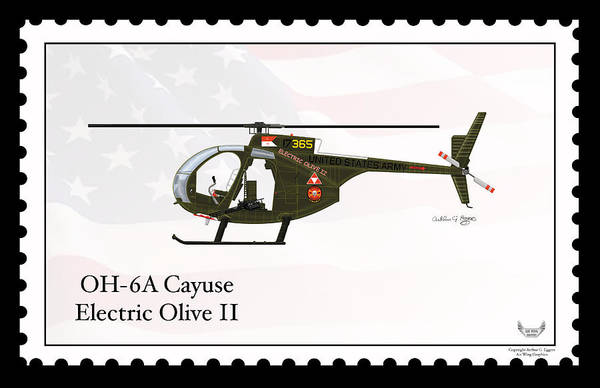 Arthur Hughes Digital Art - Hughes Oh-6a Cayuse Electric Olive II by Arthur Eggers
