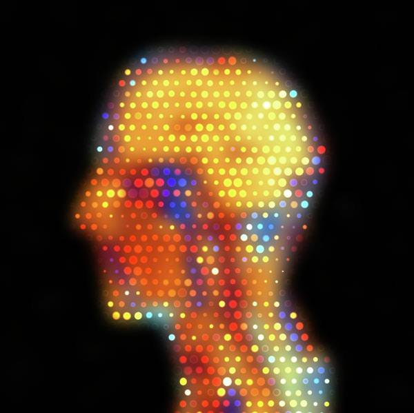 Wall Art - Photograph - Human Head Mri Dot Matrix by Alfred Pasieka/science Photo Library