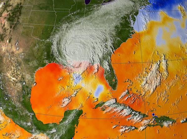 Wall Art - Photograph - Hurricane Katrina Sea Surface Temperature by Nasa/science Photo Library
