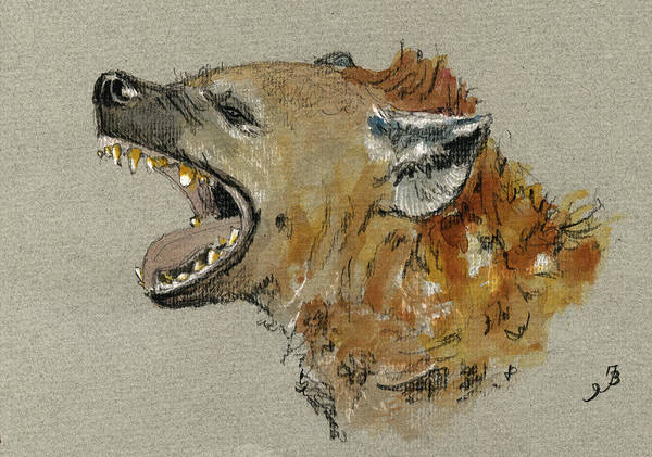 Wall Art - Painting - Hyena Head by Juan  Bosco