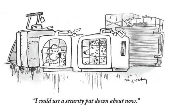 Luggage Drawing - I Could Use A Security Pat Down About Now by Mike Twohy