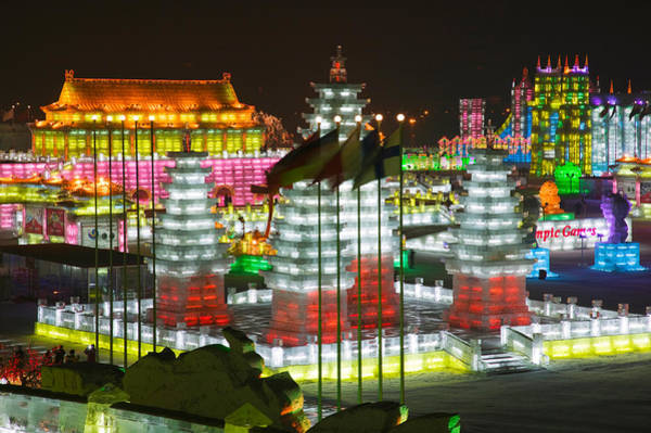 Chinese Flag Photograph - Ice Buildings At The Harbin by Panoramic Images