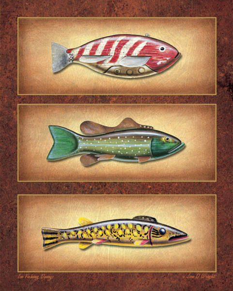Fishing Tackle Wall Art - Painting - Ice Fishing Decoys by JQ Licensing