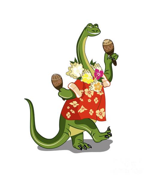 Cutout Digital Art - Illustration Of A Brontosaurus Playing by Stocktrek Images