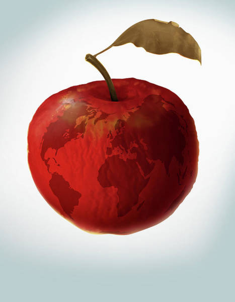 Contamination Photograph - Illustration Of An Apple With World Map by Fanatic Studio / Science Photo Library