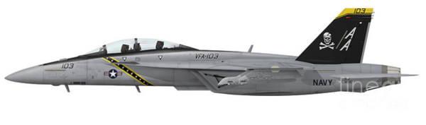 A-18 Hornet Wall Art - Digital Art - Illustration Of An Fa-18f Super Hornet by Inkworm